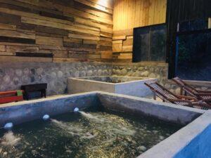 Tinas agua caliente de las cabañas Colbún