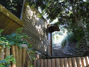 Entorno y jardín cabaña lago Colbún